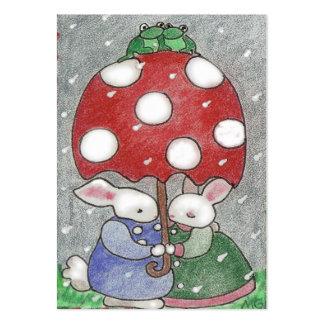 rain bunnies tiny valentine business card template