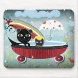 Rain Cat Rain umbrella melon bird star Mousepad