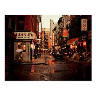Rain - Chinatown - New York City Postcard