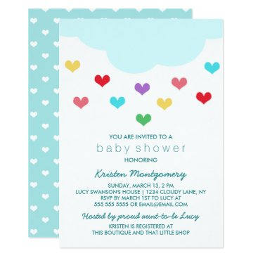 Toddler & Baby themed Rain Cloud & Hearts | Baby Shower Invitation
