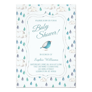 Rain Clouds and Raindrops Baby Shower Card