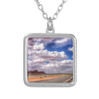 Rain Clouds on the Way.  Monument Valley, UT - AZ Silver Plated Necklace