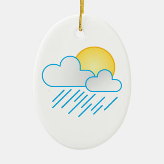 Rain Clouds Double-Sided Oval Ceramic Christmas Ornament