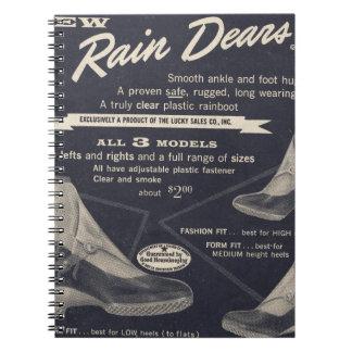 Rain Dears - Vintage 1950's transparent boots Spiral Note Book