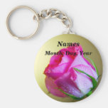 Rain Drop Kisses of Nature on Pink Rose Basic Round Button Keychain