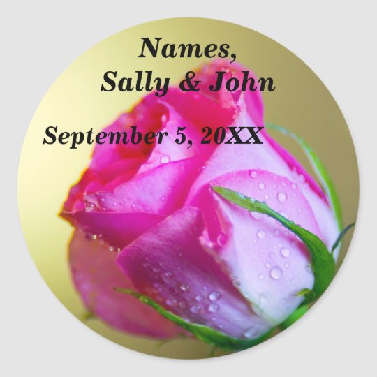 Rain Drop Kisses of Nature on Pink Rose Classic Round Sticker