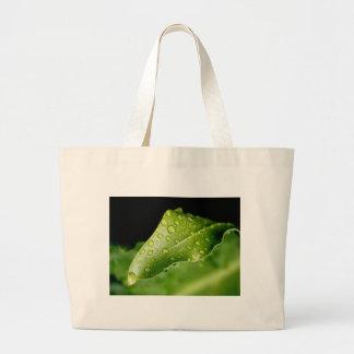Rain drop leaf large tote bag