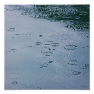 Rain drops and water ripples poster