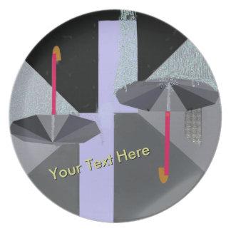Rain Drops Black Umbrella Abstract w Your Text Melamine Plate