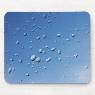 Rain Drops on Blue Background Mouse Pad