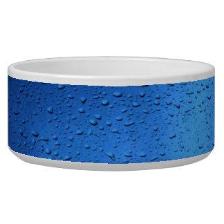 Rain Drops on Blue Glass Dog Bowl