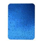 Rain Drops on Blue Glass Flexible Magnet