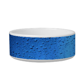 Rain Drops on Blue Glass Cat Food Bowls