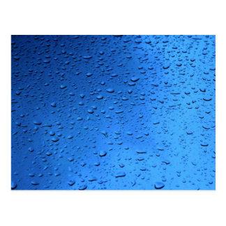 Rain Drops on Blue Glass Postcard