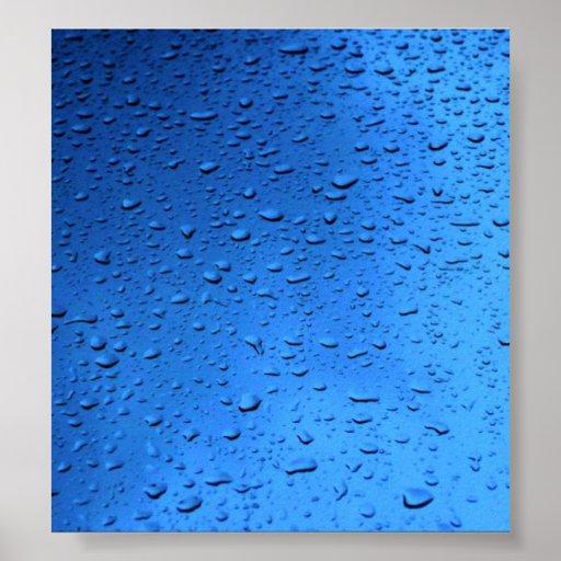 Rain Drops on Blue Glass Poster