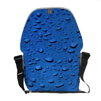 Rain Drops on Glass blue Messenger Bag