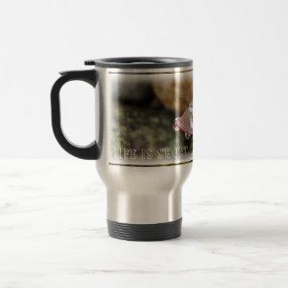 Rain Drops on Leaf; Customizable Travel Mug