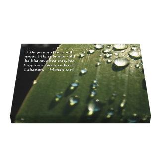 Rain Drops on Leaf Scripture Canvas Print