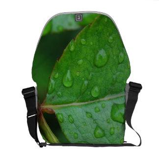 Rain Drops on Leaves mf Courier Bag