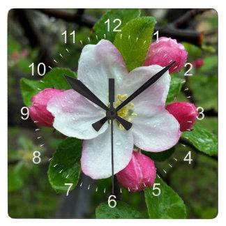 Rain drops on little flower square wall clock