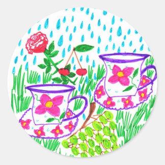 rain-drops classic round sticker