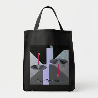 Rain Drops Umbrellas w Text Grocery Tote Bag