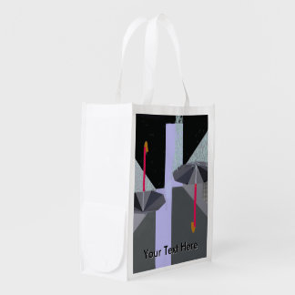 Rain Drops Umbrellas w Text Reusable Grocery Bags
