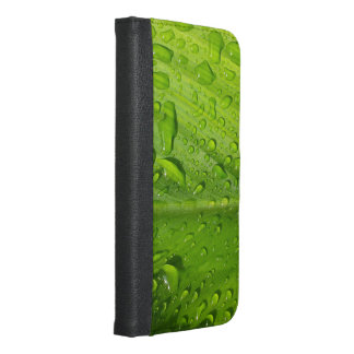 rain,drops,water,leaf,green,nature,refreshing,plan iPhone 6/6s plus wallet case