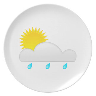 Rain Drops with Cloud Dinner Plate