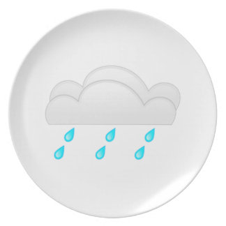 Rain Drops with Clouds Dinner Plates
