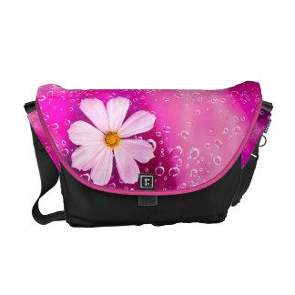 Rain Drops with cosmos flowers Bag Messenger Bag