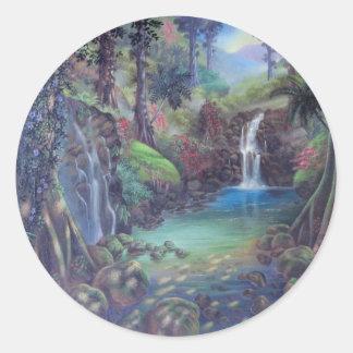 Rain Forest Landscape River Waterfalls Art Classic Round Sticker