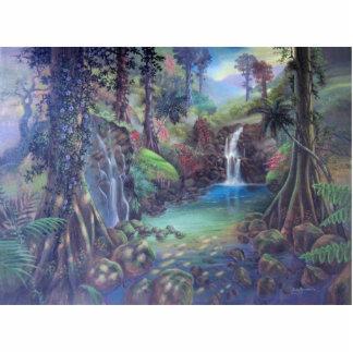 Rain Forest Landscape River Waterfalls Art Standing Photo Sculpture