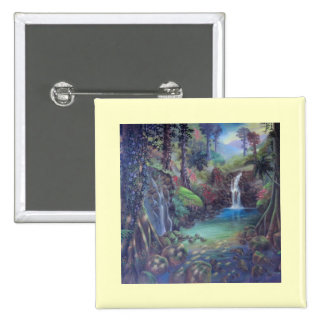 Rain Forest Landscape River Waterfalls Art Pins