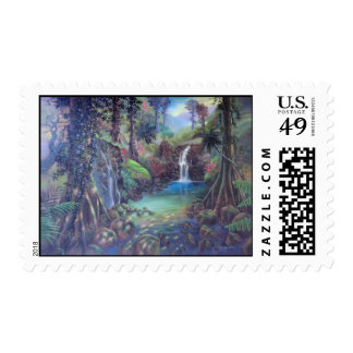 Rain Forest Landscape River Waterfalls Art Postage Stamp