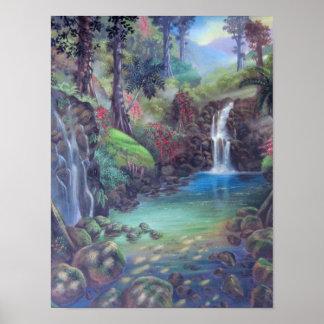 Rain Forest Landscape River Waterfalls Art Poster
