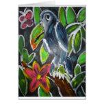 Hand shaped Rain  Forest  Toucan art Card