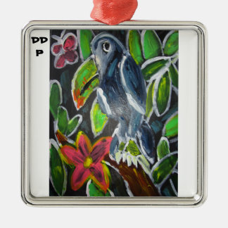 Rain forest  toucan art metal ornament