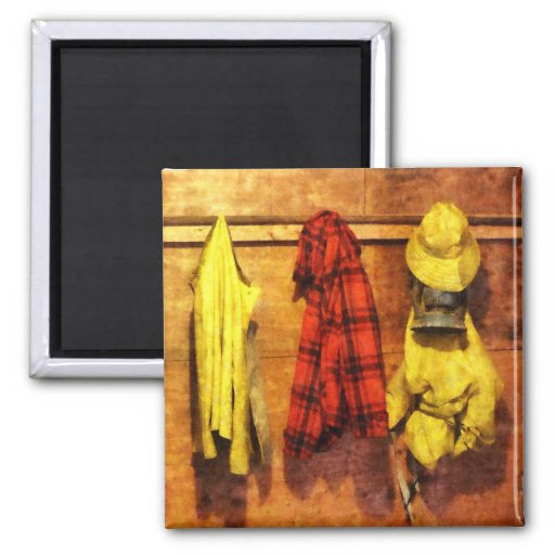 Rain Gear and Red Plaid Jacket Fridge Magnets