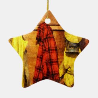 Rain Gear and Red Plaid Jacket Christmas Tree Ornaments
