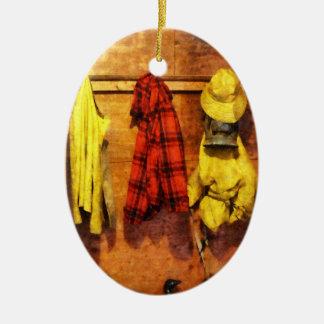 Rain Gear and Red Plaid Jacket Christmas Tree Ornament