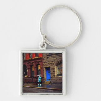 Rain - Greenwich Village - New York City Keychain