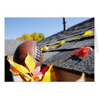 Rain Gutter Full Of Autumn Leaves Card