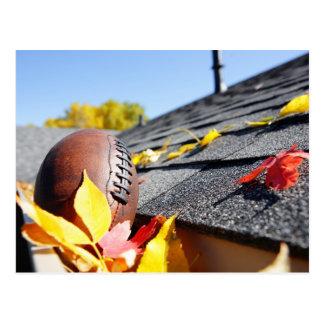 Rain Gutter Full Of Autumn Leaves Postcard