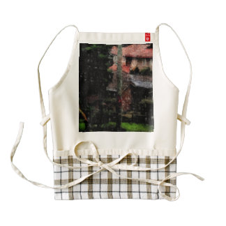 Rain in a neighborhood zazzle HEART apron
