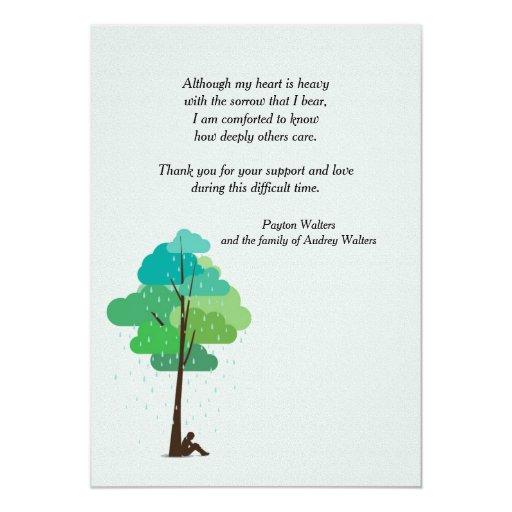 Rain in my Heart Bereavement Thank You Card | Zazzle
