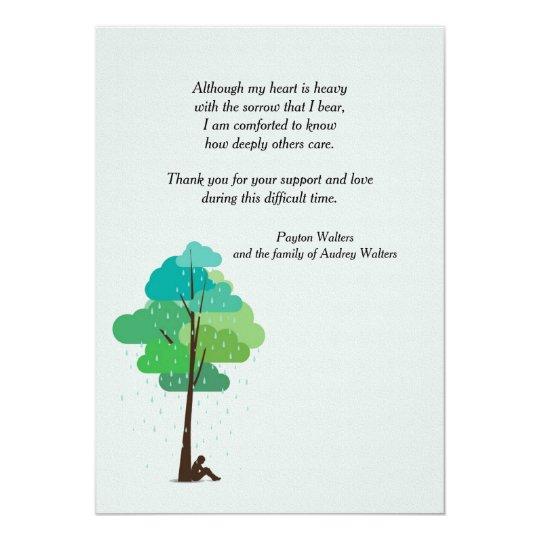 Rain in my Heart Bereavement Thank You Card   Zazzle.com
