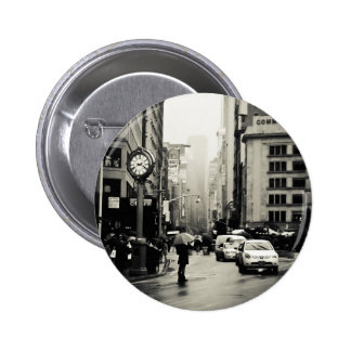 Rain in New York City - Vintage Style Pinback Button