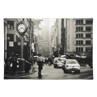 Rain in New York City - Vintage Style Cloth Placemat