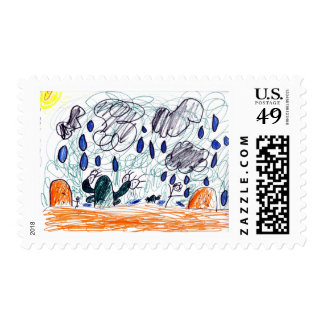 rain in the dessert childrens artwork postage stamp
